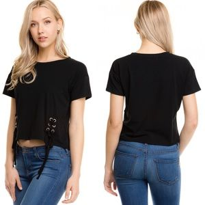 Tops - Short Sleeve Top With Lace Up Detail